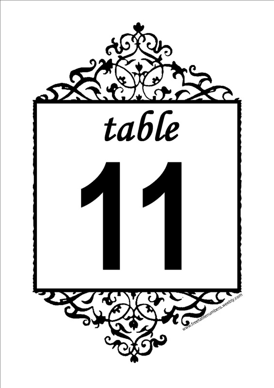 Free Table Numbers  Numbers Templates Free