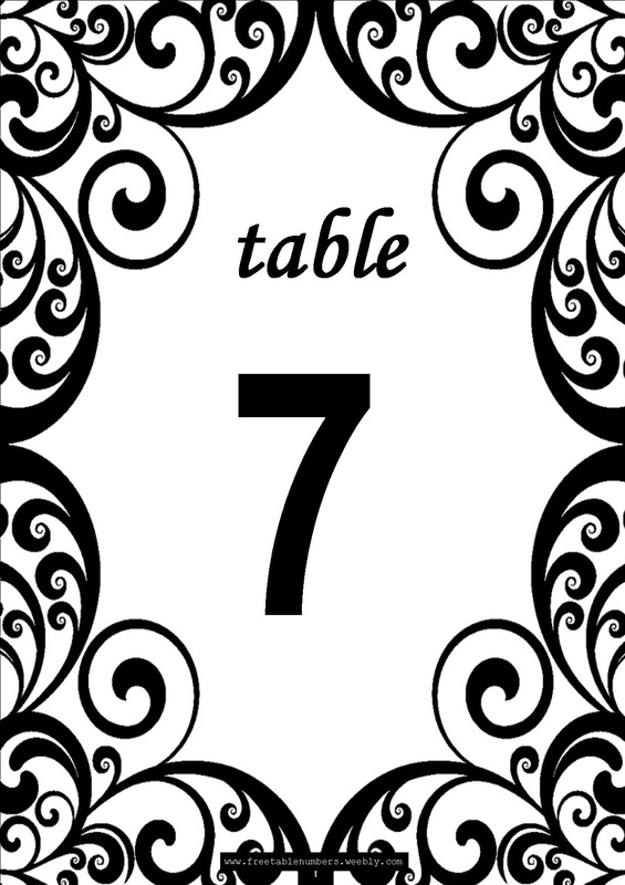 Free swirls printable diy table numbers free table numbers for Table numbers for wedding reception templates