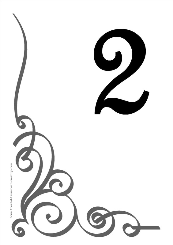 Free flourish printable diy table numbers free table numbers for Wedding table numbers template